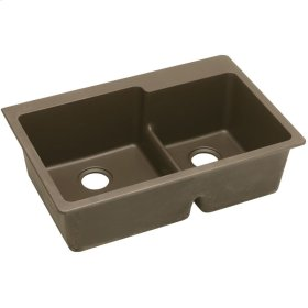 """Elkay Quartz Classic 33"""" x 22"""" x 9-1/2"""", Offset 60/40 Double Bowl Top Mount Sink with Aqua Divide, Mocha"""