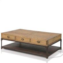 Olie Rectangular Coffee Table with 6 Drawers, 1 Metal Shelf