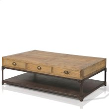 Olie Rectangular Coffee Table with 6 Drawers, 1 Metal Shelf