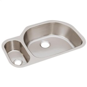 """Elkay Lustertone Classic Stainless Steel, 31-1/2"""" x 21-1/8"""" x 7-1/2"""", 30/70 Offset Double Bowl Undermount Sink"""