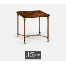 Argentinian Walnut Parquetry & Iron Side Table