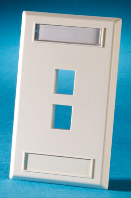 Single gang plastic faceplate, holds two Keystone jacks or modules, Wiremold Ivory