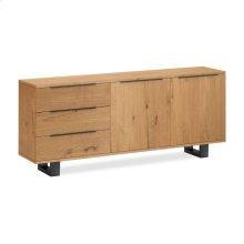 Waxed Oak Large Sideboard Metal Base