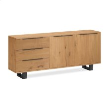 Waxed Oak Large Sideboard Metal Base