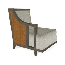 """29"""" Grey & Tan Rattan Right One-Seat Sofa Sectional, Upholstered in Standard Outdoor Fabric"""