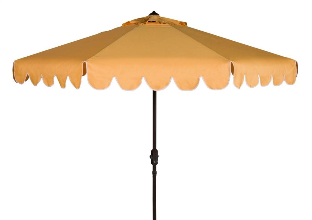 Venice Single Scallop 9ft Crank Outdoor Auto Tilt Umbrella - Yellow / White