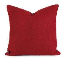 IK Kavita Red Linen Quilted Pillow w/ Down Fill