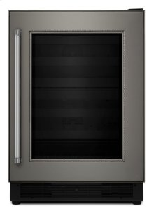 """24"""" Panel Ready Wine Cellar with Glass Door and Wood-Front Racks - Stainless Steel"""