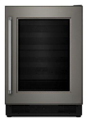 "24"" Panel Ready Wine Cellar with Glass Door and Wood-Front Racks - Stainless Steel"