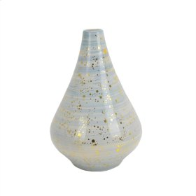 Gold Flecked Blue Vase 16.75""