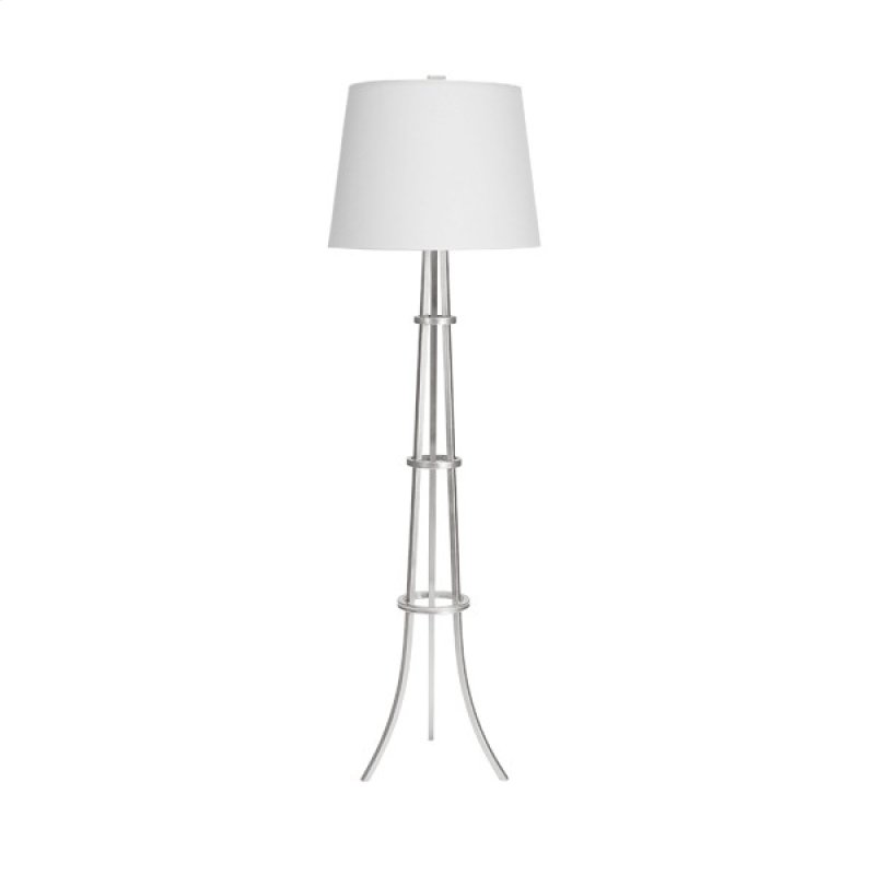 Three Leg Floor Lamp With Rings In Silver Leaf 16 Diameter White Linen Shade