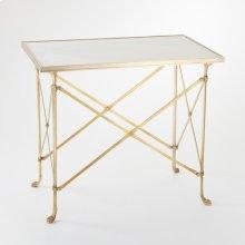 Rectangular Directoire Table-Brass/White Marble