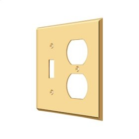 Switch Plate, Single Switch/Double Outlet - PVD Polished Brass