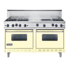 """Lemonade 60"""" Open Burner Commercial Depth Range - VGRC (60"""" wide, six burners 12"""" wide griddle/simmer plate 12"""" wide char-grill)"""