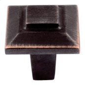 Trocadero Small Square Knob 1 Inch - Venetian Bronze