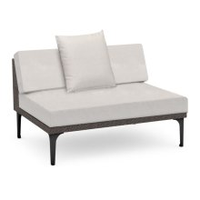 """47"""" Outdoor Dark Grey Rattan 2 Seat Centre Sofa Sectional, Upholstered in COM"""