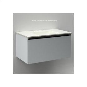 "Cartesian 30-1/8"" X 15"" X 18-3/4"" Single Drawer Vanity In Matte Gray With Slow-close Plumbing Drawer and Night Light In 5000k Temperature (cool Light)"