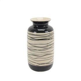 """Ceramic Vase 10.5"""", Black/white"""