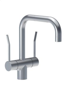 Two-handle mixer with long lever and 1/4 turn ceramic disc technology, double swivel spout with M22 aerator - Grey