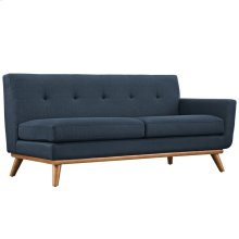 Engage Right-Arm Upholstered Fabric Loveseat in Azure