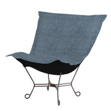 Scroll Puff Chair Coco Sapphire Titanium Frame