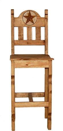 "30"" Wood Seat Marble Star Bar Stool"
