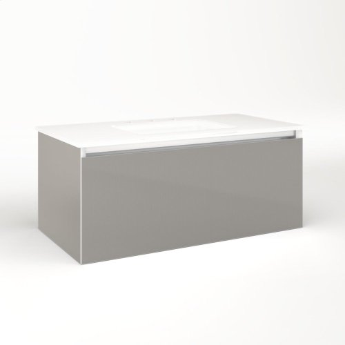 "Cartesian 36-1/8"" X 15"" X 18-3/4"" Single Drawer Vanity In Silver Screen With Slow-close Plumbing Drawer and Night Light In 5000k Temperature (cool Light)"