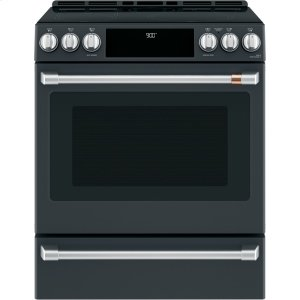 "Cafe30"" Slide-In Front Control Induction and Convection Range with Warming Drawer"