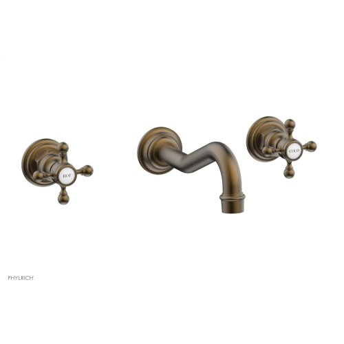 HENRI Wall Tub Set - Cross Handle 161-56 - Old English Brass