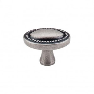 Oval Rope Knob 1 1/4 Inch - Pewter Antique