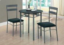 DINING SET - 3PCS SET / BLACK / SILVER METAL