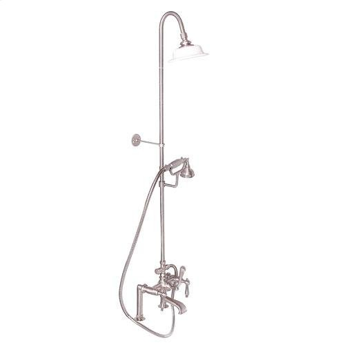 Tub Filler with Diverter Hand-Held Shower and Riser - Lever with Finials / Brushed Nickel