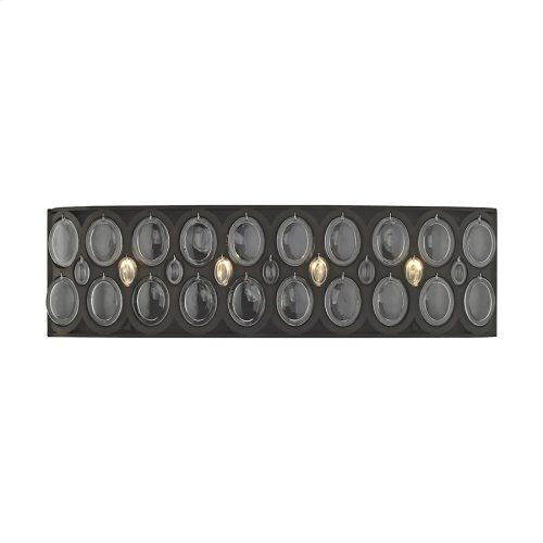 Serai 4-Light Vanity Sconce in Oil Rubbed Bronze with Clear Soda Bottle Glass