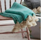 Turquoise Marble Throw with Tassels. Product Image