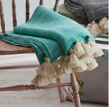 Turquoise Marble Throw with Tassels.