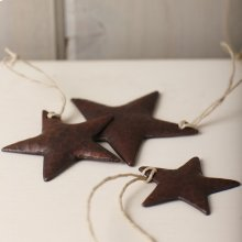3 Copper Star Ornaments