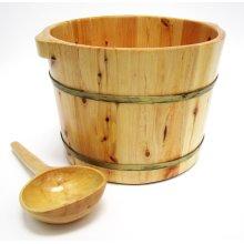 """AB6604 15"""" Solid Cedar Wood Foot Soaking Barrel Bucket with Matching Spoon"""