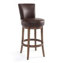 "Armen Living Boston 30"" Bar Height Swivel Wood Barstool in Chestnut Finish and Kahlua Pu Product Image"