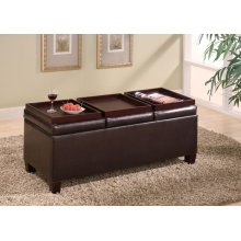 Casual Dark Brown Serving Ottoman