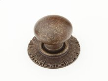 "Solid Brass, Symphony, Sunburst, Round Knob w/Backplate, 1-1/4"" diameter, Highlighted Bronze finish"