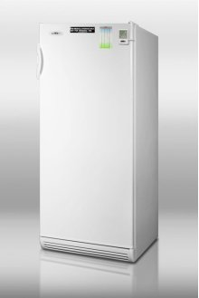 "Commercially approved full-sized medical all-refrigerator in thin 24"" widthwith automatic defrost, side lock, and temperature alarm"