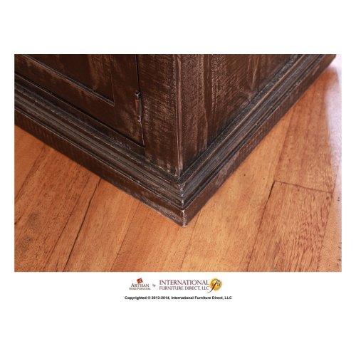 Cabinet w/2 Glass doors, 2 wood doors - Black finish