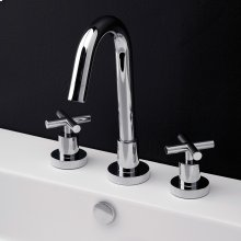 Deck-mount three-hole faucet with a goose-neck swiveling spout, two cross handles, and a pop-up drain.