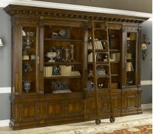 Napoleon Brown Finished Bookcase with Ladder, Crotch Mahogany Veneer, Brass Accents