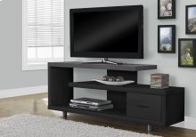 "TV STAND - 60""L / BLACK / GREY TOP WITH 1 DRAWER"