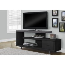 """TV STAND - 60""""L / BLACK / GREY TOP WITH 1 DRAWER"""