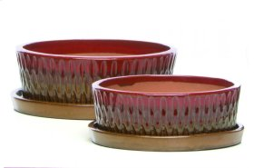 Tartain Bowl w/ saucer, Red and Copper - Set of 2