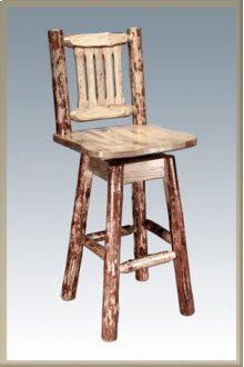 Glacier Country Log Barstool with Swivel Seat