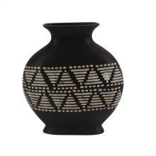 """Ceramic 12"""" Tribal Vase, Brown"""