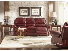 Walker -  Power Reclining Leather Sofa (Wine or Saddle available)